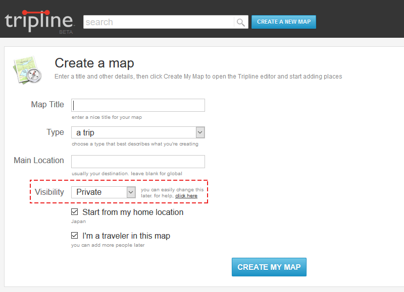 TriplineのMAP登録画面