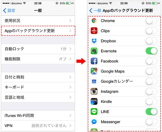 iphoneの「Appのバックグラウンド更新」の設定内容を変更する方法