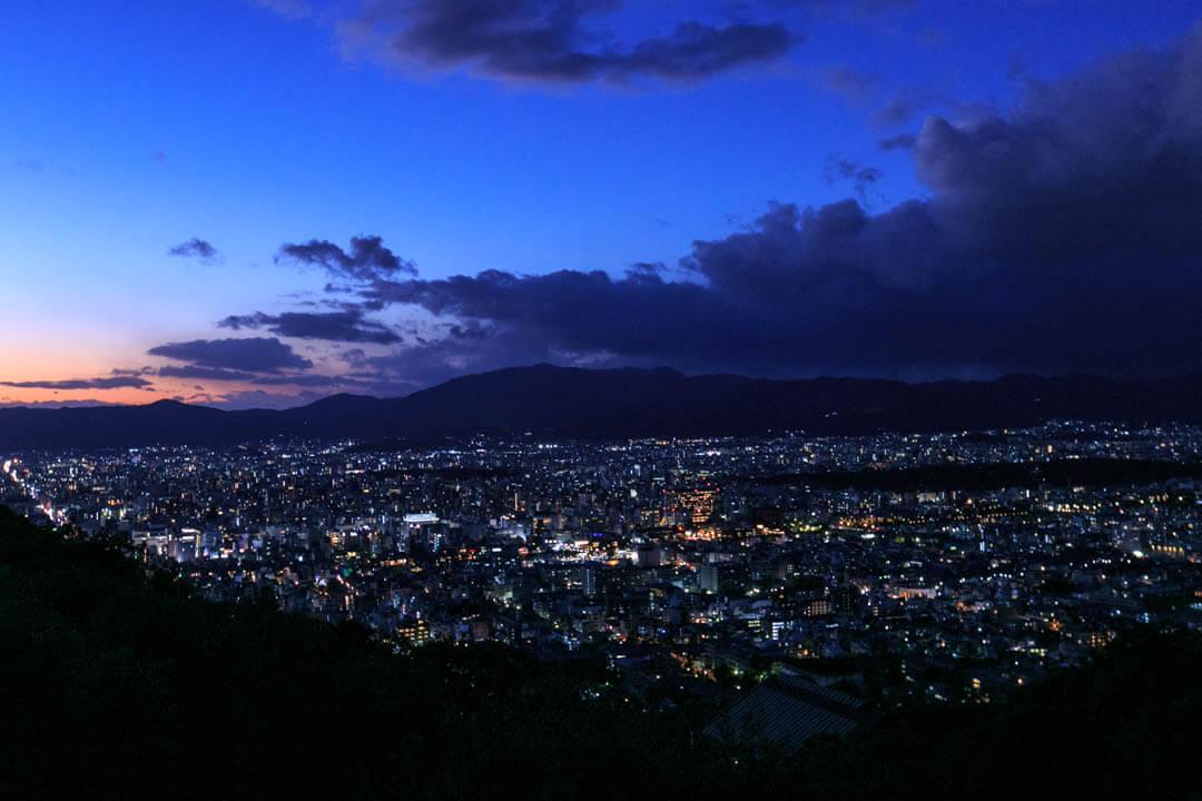 大舞台から撮影した京都の夜景