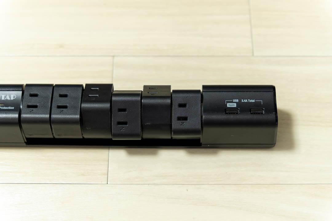 PCデスク周りの便利グッズ・2ポートUSB給電機能付OAタップの写真