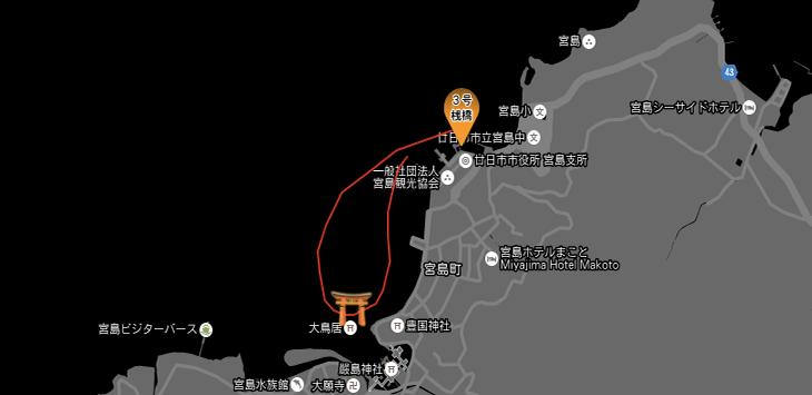 宮島ナイトクルーズのルート