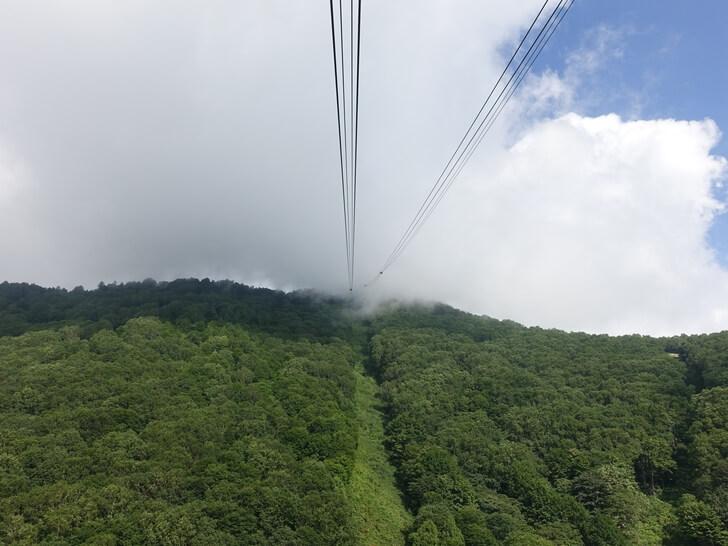 ゴンドラの中から見た山頂の眺め