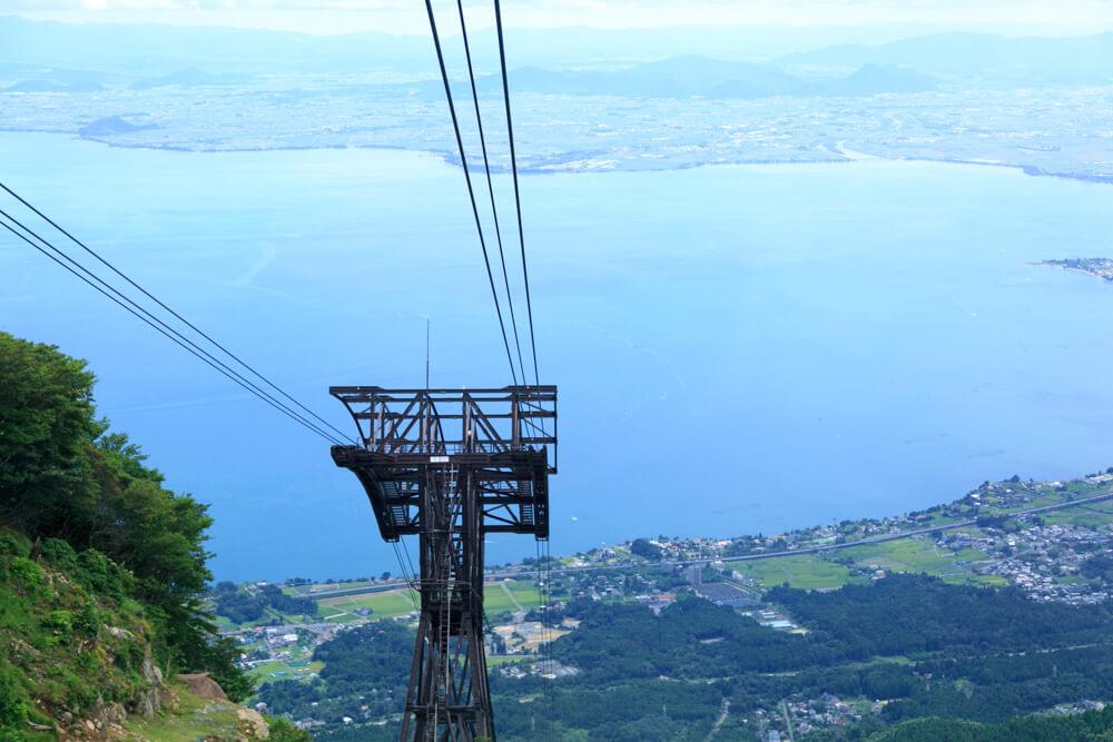 びわ湖テラスのゴンドラから見た風景を撮影した写真