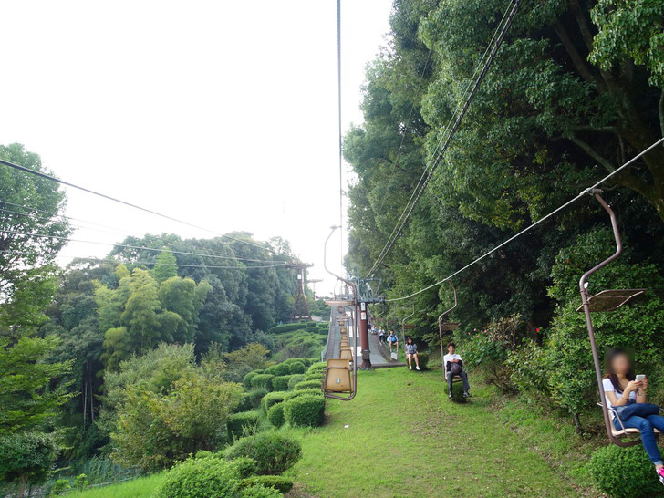 松山城ロープウェイに乗車している時の写真