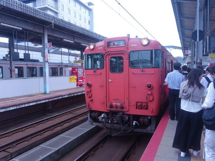 出雲市駅から松江駅へ向うために乗車した電車