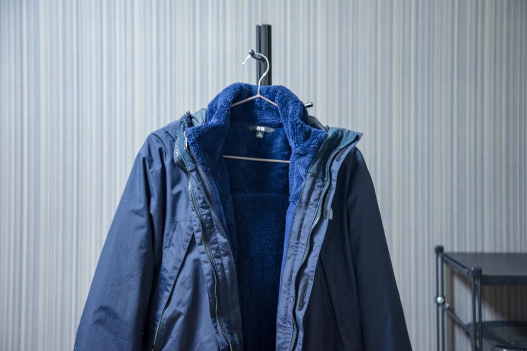 スクープジャケットとユニクロのフリースジップインジップで連結する写真