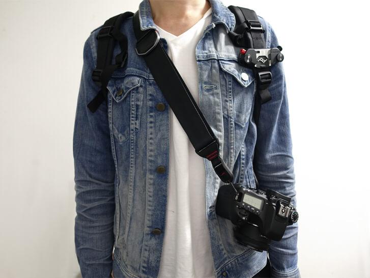 Peak Designのキャプチャープロカメラクリップをリュックにつけて使用してみた写真