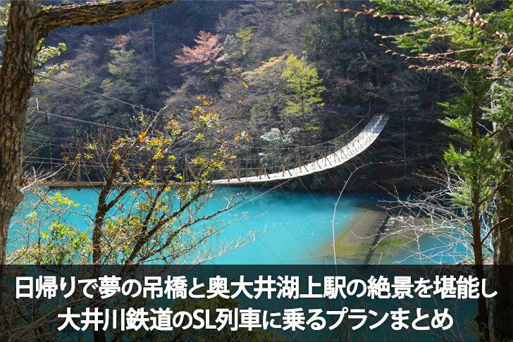 夢の吊橋と奥大井湖上駅の絶景を巡り、SL列車に乗車!