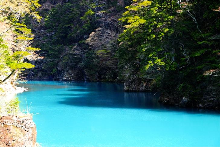エメラルドグリーンに輝く大間ダム湖の写真