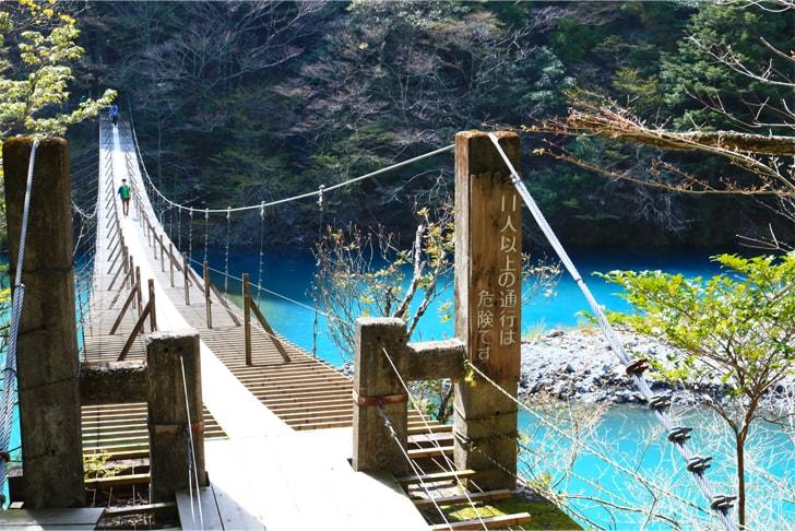 チンダル現象でエメラルドグリーンに輝く寸又峡の夢の吊橋の写真