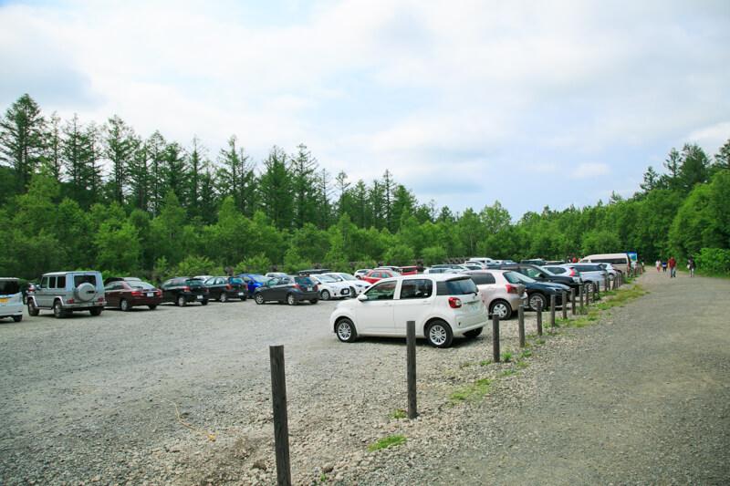 青い池の無料一般駐車場の写真