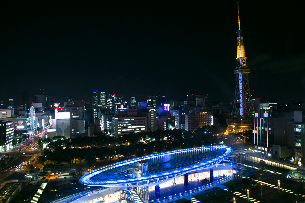 忍者レフを使用して撮影した夜景の写真