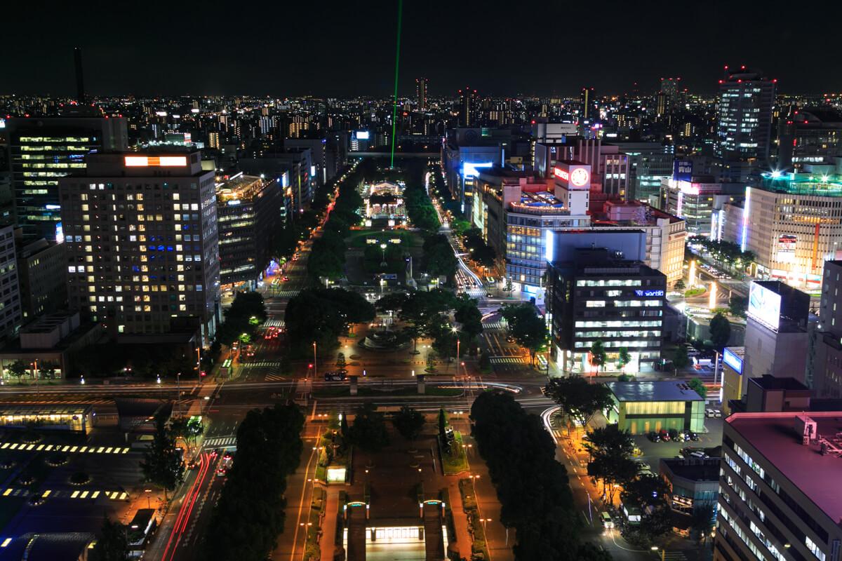 忍者レフを利用して撮影た夜景の写真