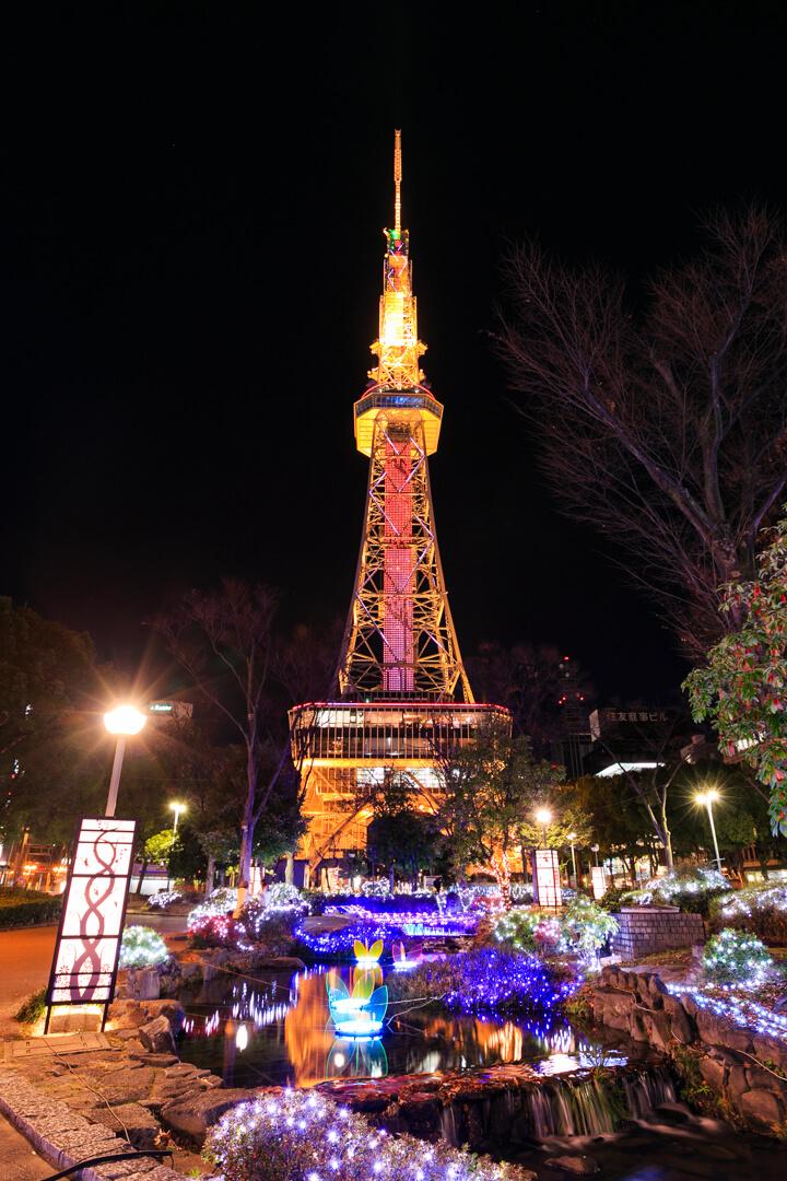 もちのき広場のイルミネーションと名古屋テレビ塔の写真