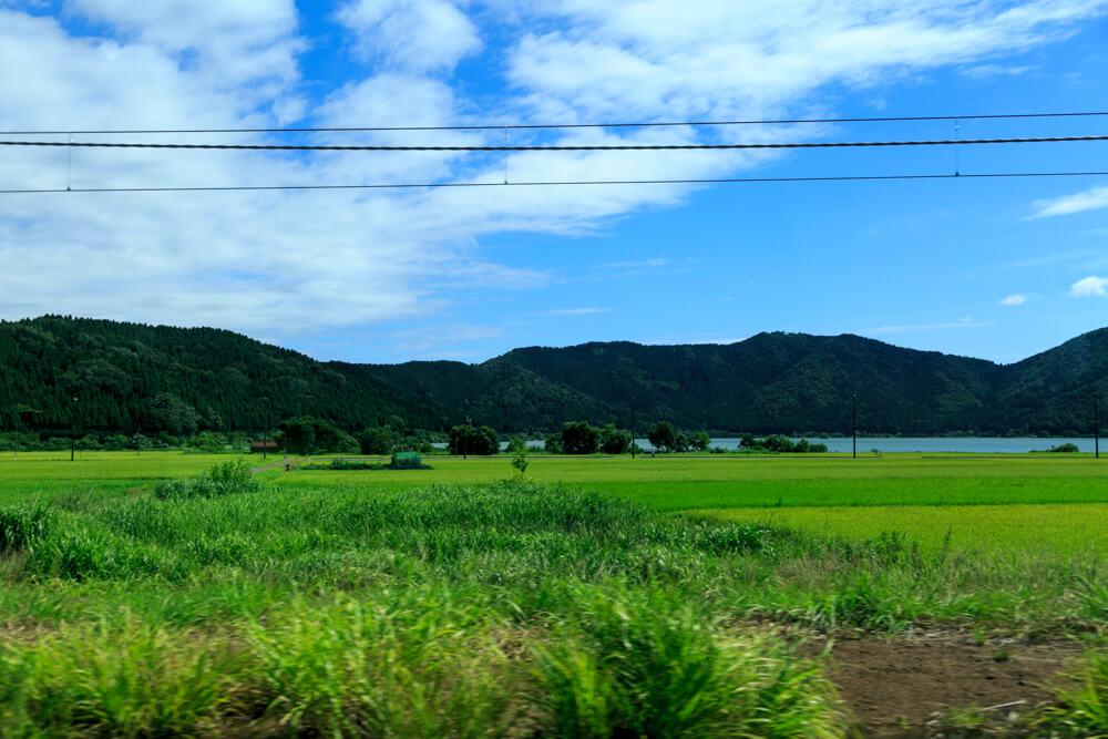JR余呉駅の近くにある余呉湖の写真