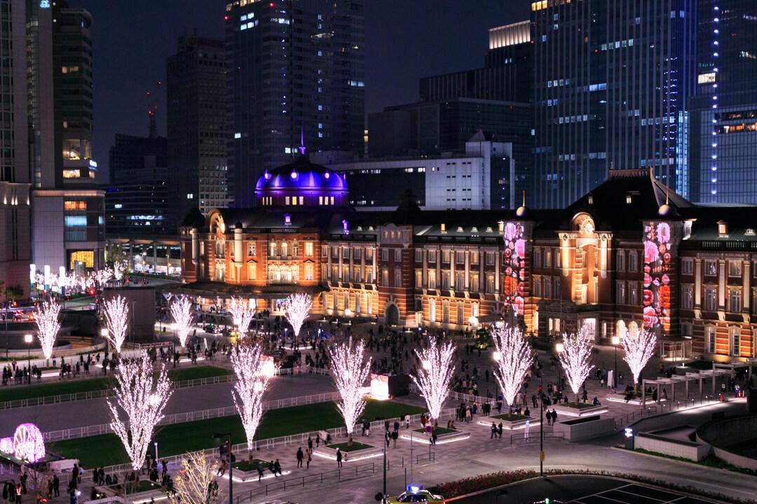 丸ビルから撮影した東京ミチテラスの様子