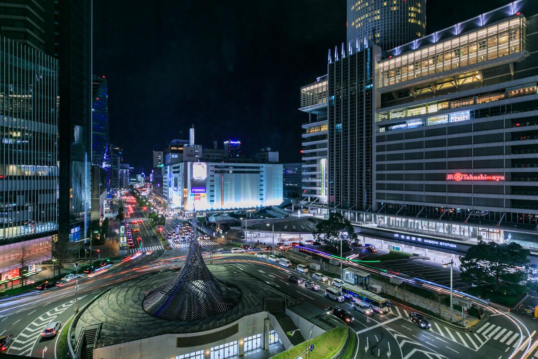 大名古屋ビルディングスカイガーデンから撮影した名古屋駅前ロータリーの写真