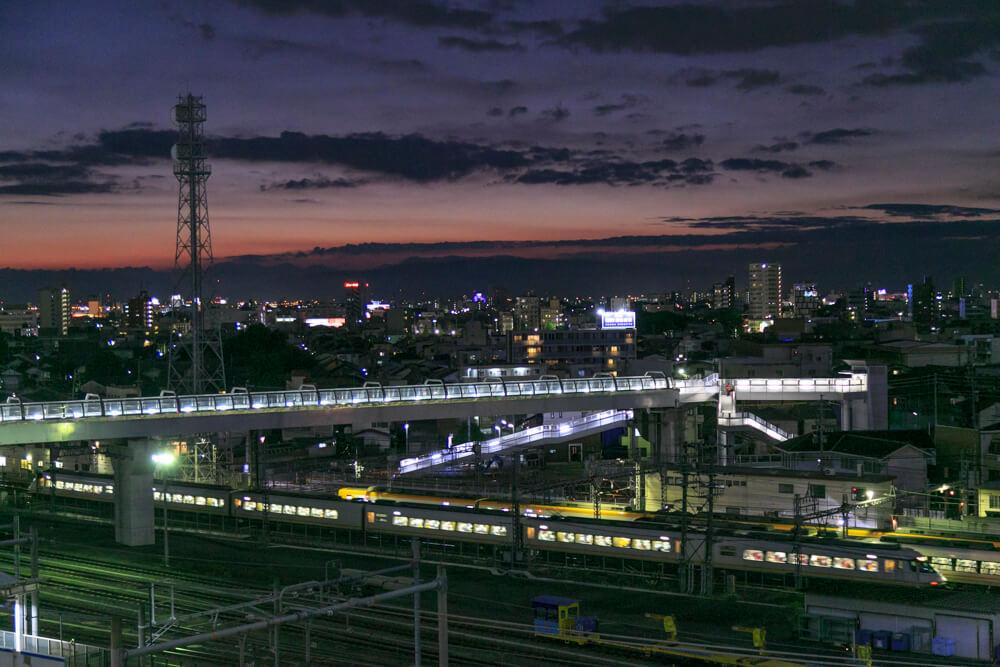 ささしまグローバルゲートの屋上庭園から撮影した名古屋駅前ビル群