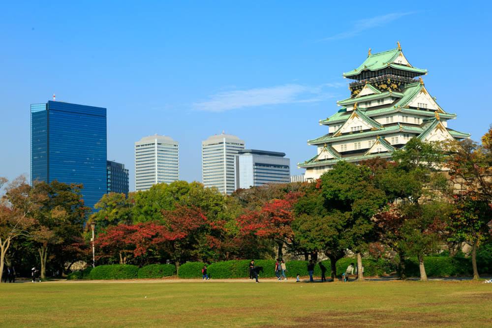 西の丸庭園から撮影した大阪城と大阪ビジネスパーク群の写真
