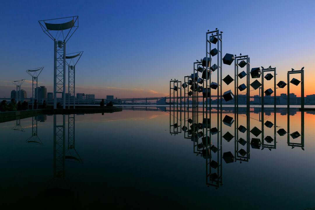 晴海埠頭旅客ターミナルから撮影した夕暮れの写真