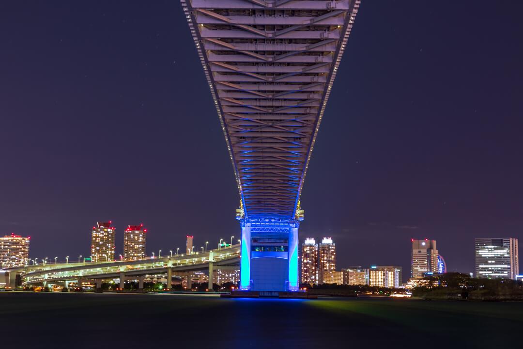 芝浦南ふ頭公園運動広場から撮影したレインボーブリッジ