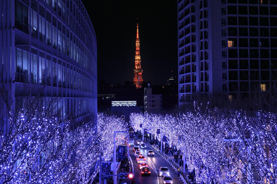 けやき坂から撮影した東京タワーの写真