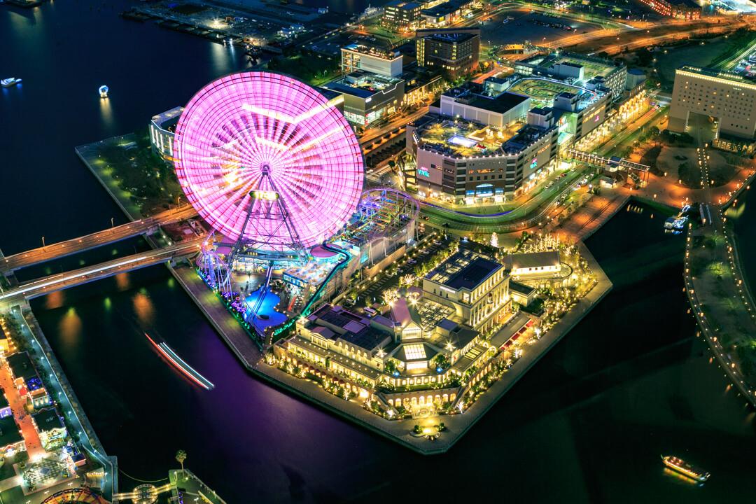 横浜ランドマークタワーから撮影した観覧車の写真