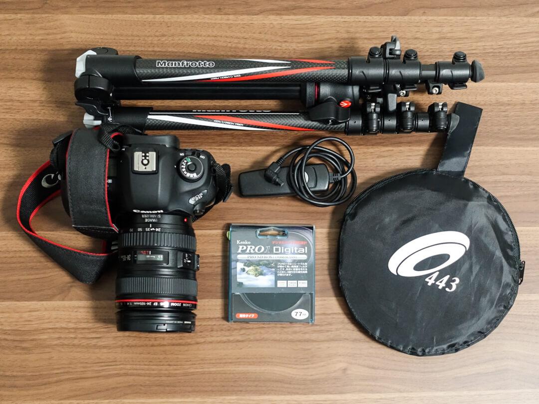 タイムラプス動画作成に必要な機材の写真