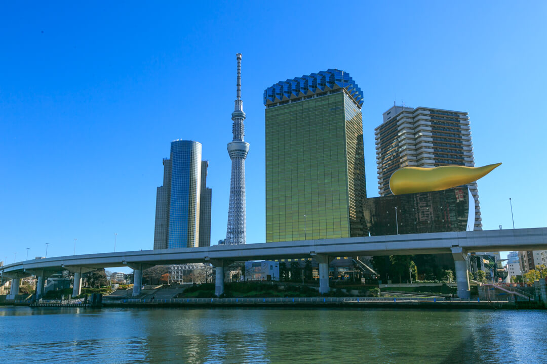 吾妻橋から撮影した東京スカイツリーの写真