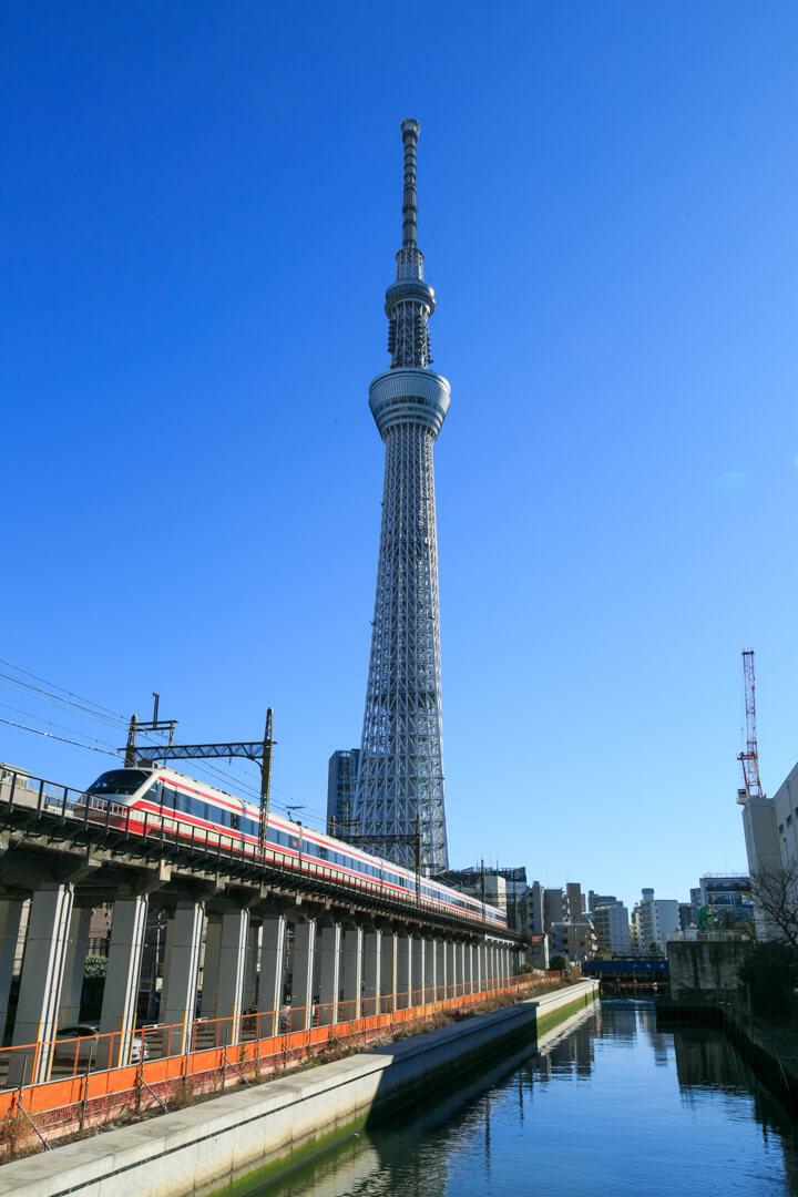源森橋から撮影した東京スカイツリーの写真