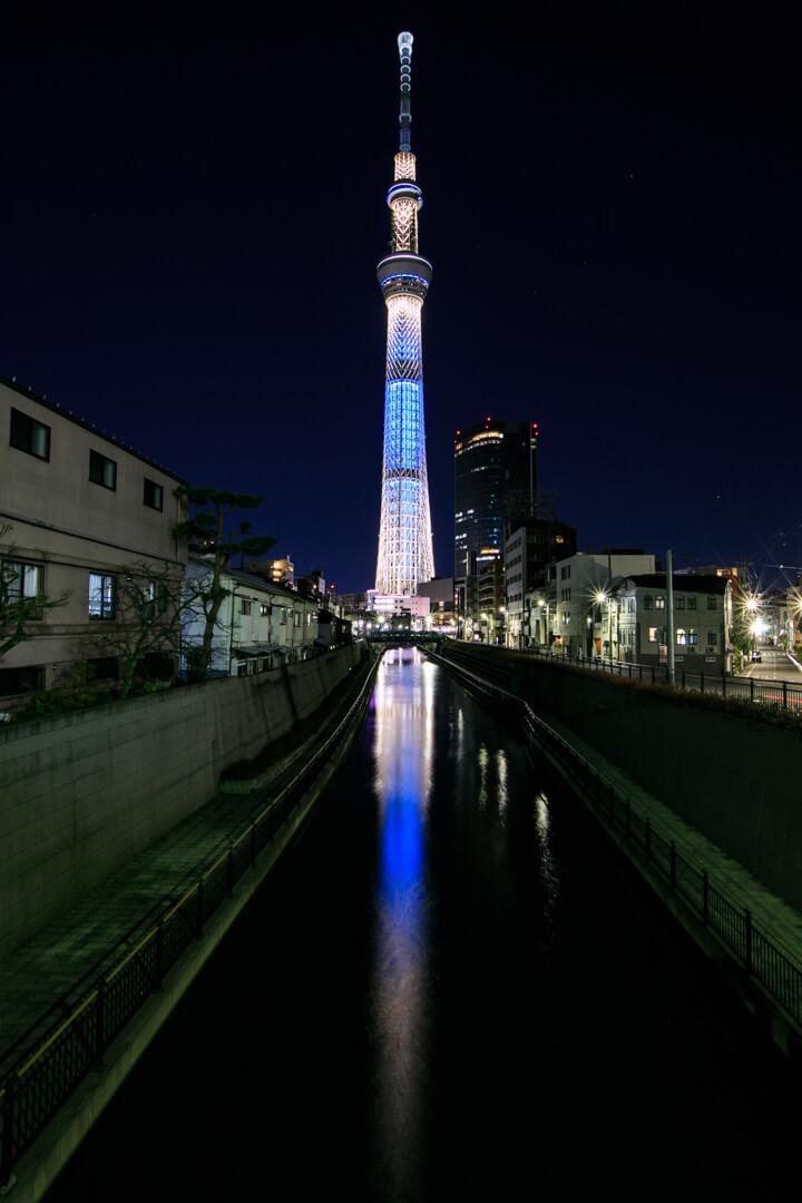 十間橋から撮影した東京スカイツリーの写真