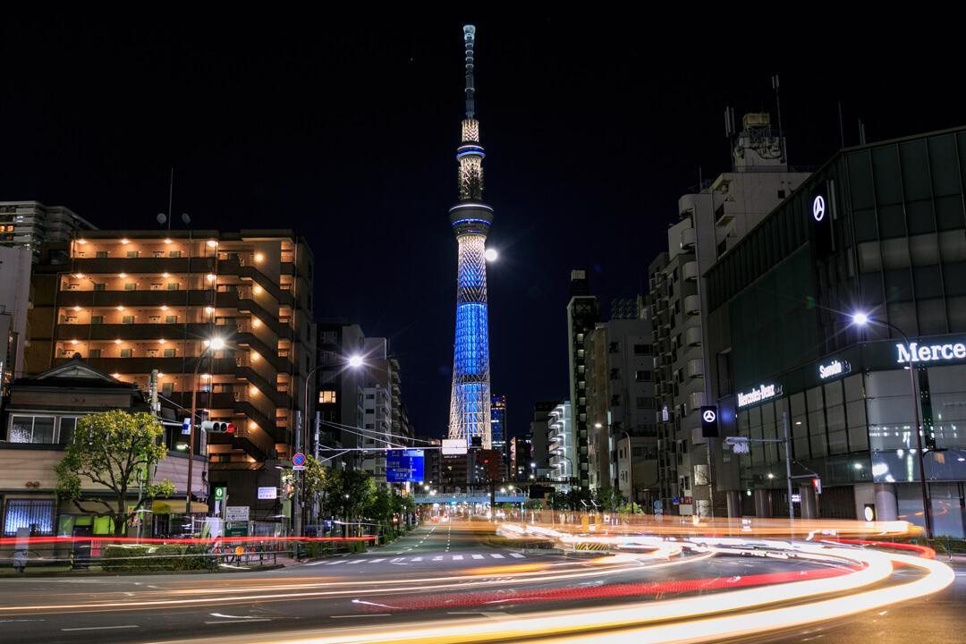 駒形橋東詰から撮影した東京スカイツリーの写真
