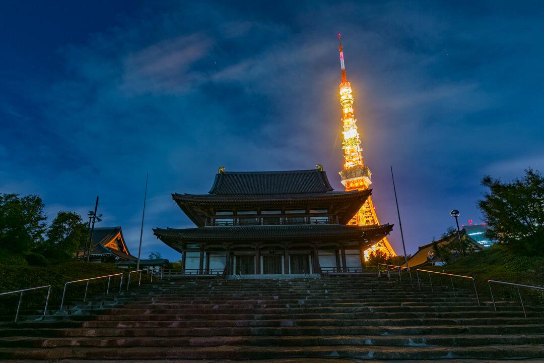 増上寺から撮影した東京タワーの写真