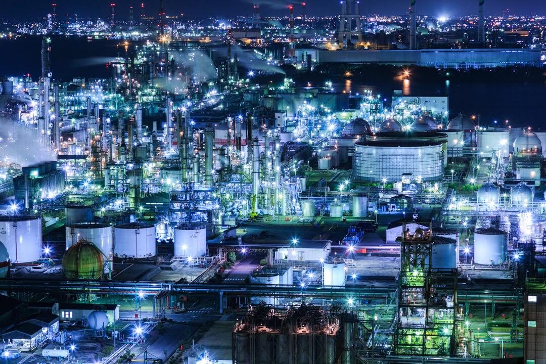 うみてらす14(四日市港ポートビル)から撮影した夜景の写真