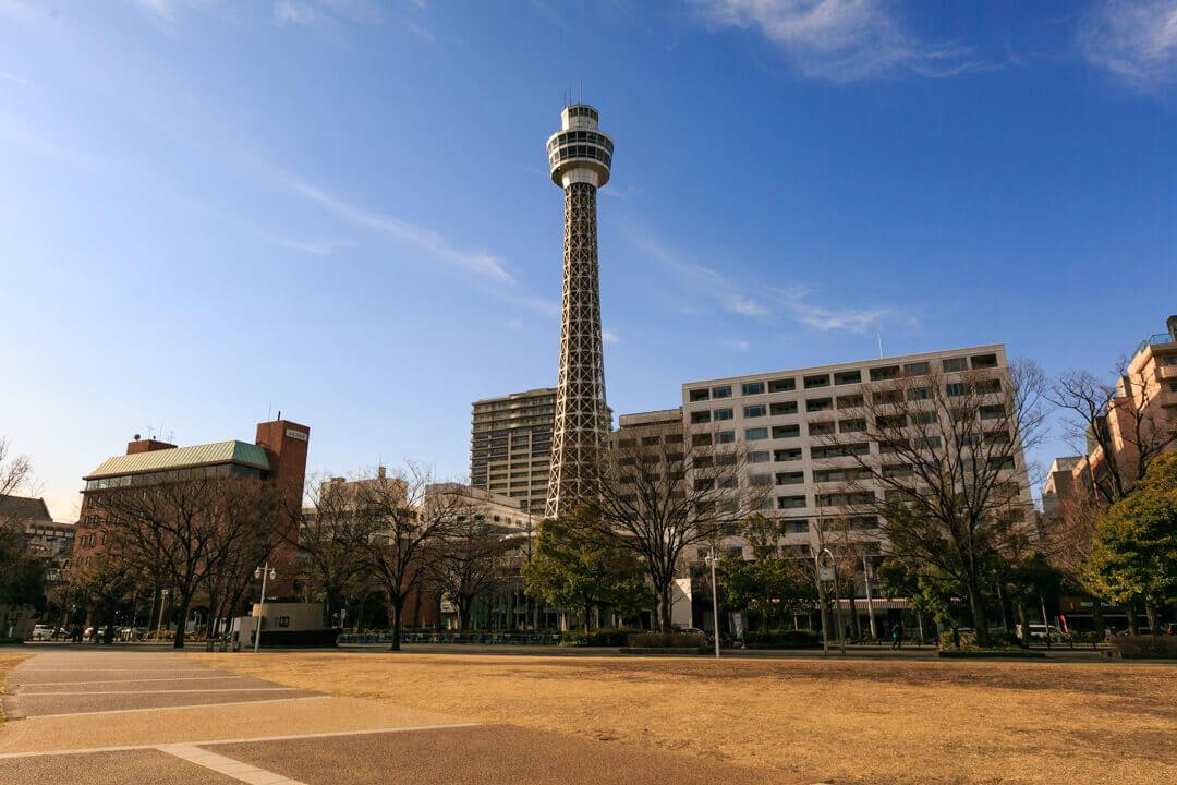 横浜マリンタワーを山下公園から撮影した写真