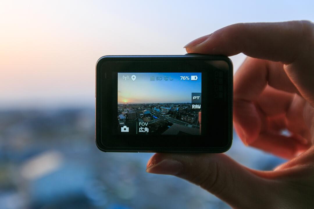 GoPro本体からシャッターを切る様子を撮影した写真