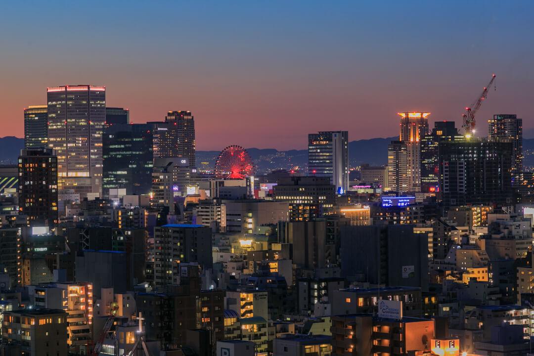 OMMビルから撮影した梅田エリアの夜景の写真