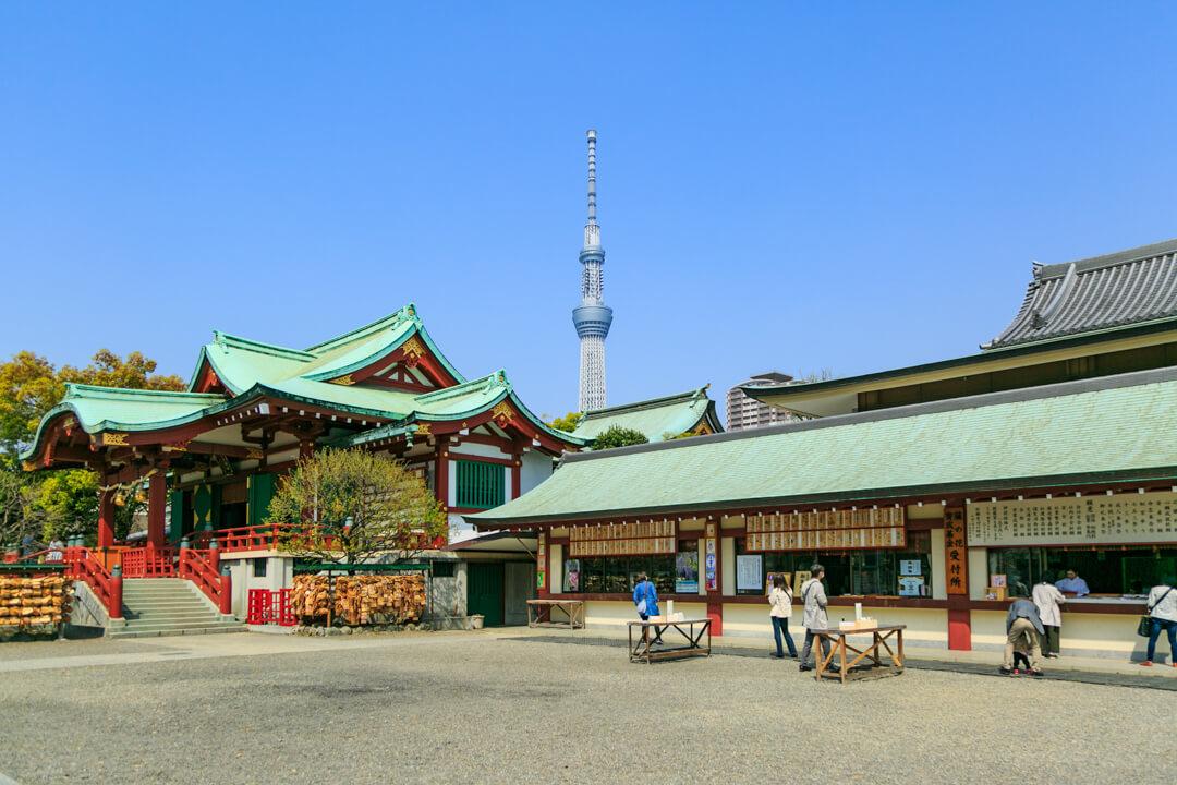 亀戸天神から撮影した東京スカイツリーの写真
