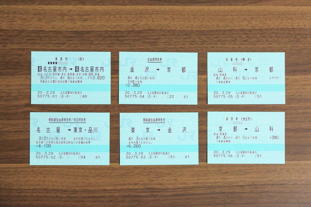 一筆書き切符の電車旅のために購入した乗車券と特急券の写真