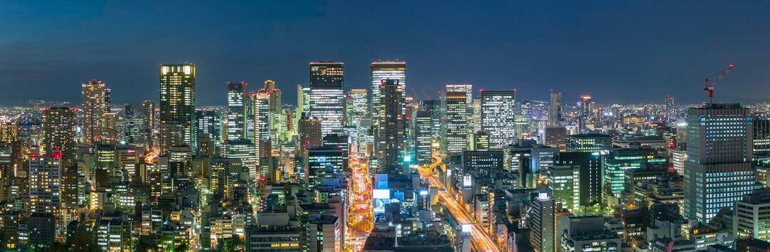 オリックス本町ビルから撮影した梅田方面の夜景
