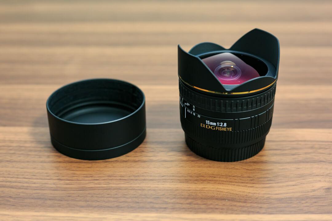 SIGMA 15mm F2.8 EX DG DIAGONALの出目金レンズを撮影した写真