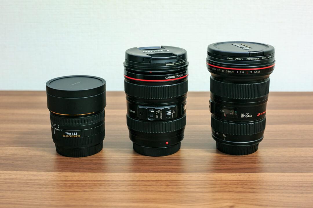 SIGMA 15mm F2.8 EX DG DIAGONALを他のレンズと並べて大きさを比較している写真