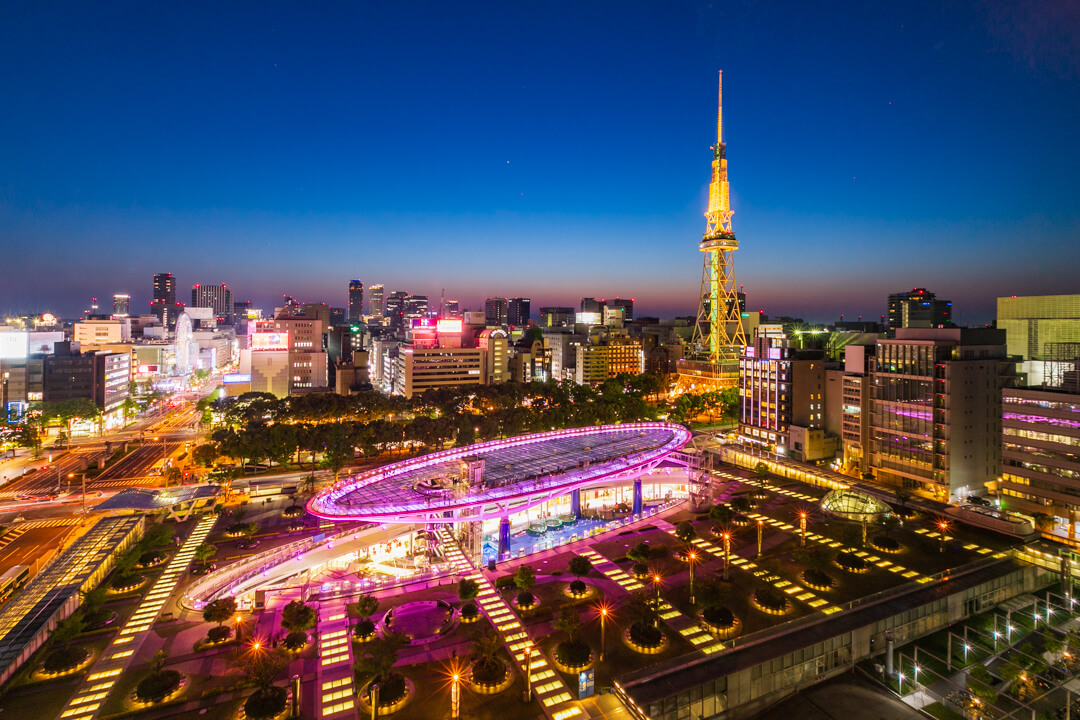 愛知芸術文化センター展望回廊から撮影した夜景