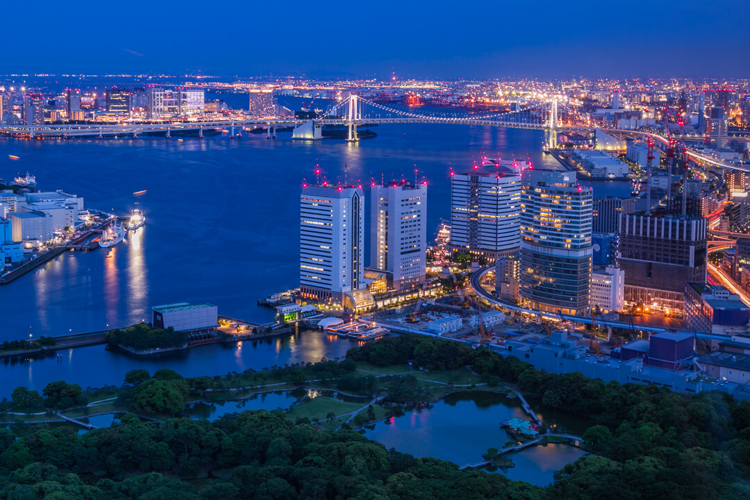 カレッタ汐留から撮影したいお台場方面の夜景