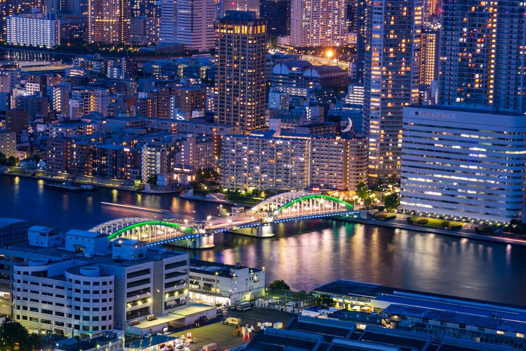 カレッタ汐留から撮影した勝鬨橋の写真