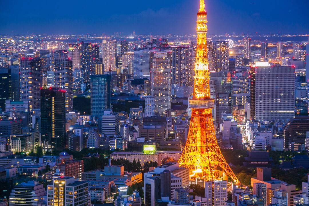 六本木ヒルズ展望台「東京シティビュー」から撮影した夜景の写真