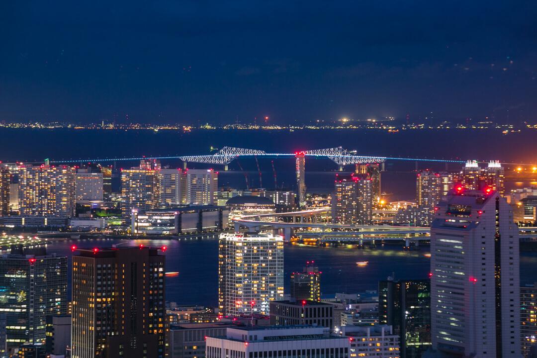 六本木ヒルズ展望台で撮影した夜景・東京ゲートブリッジ