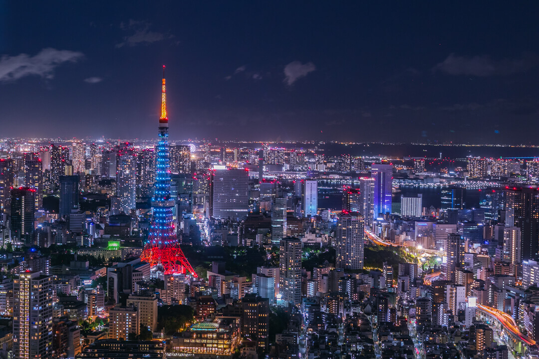 六本木ヒルズ展望台で撮影した夜景・東京タワー