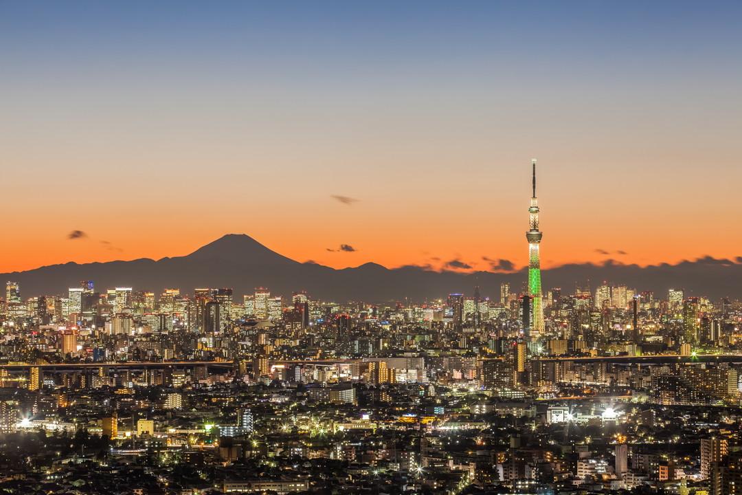 アイ・リンクタウン展望施設から撮影した富士山とスカイツリー