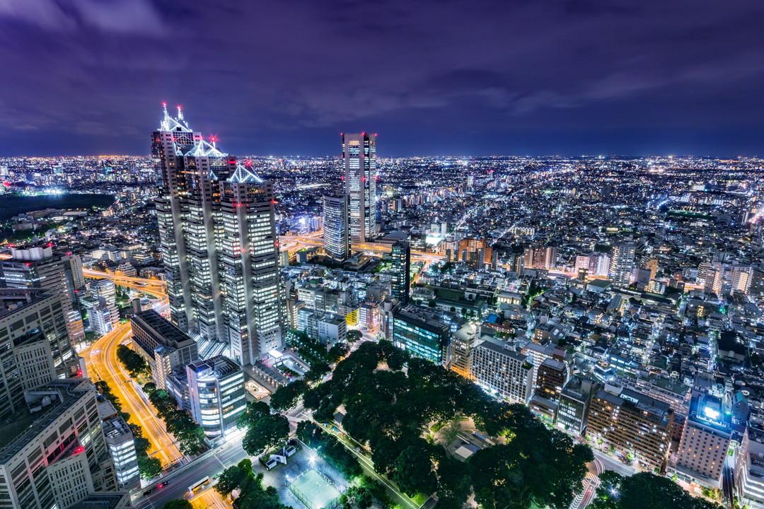 東京都庁展望室から撮影した夜景の写真